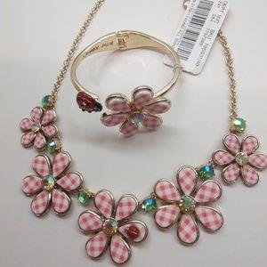 BetseyJohnsonNewPinkFlower/LadybugNeck. & Bracelet